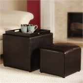 Convenience Concepts Park Avenue Single Cube Ottoman in Espresso