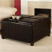 Convenience Concepts Times Square Tray Cocktail Storage Ottoman in Espresso