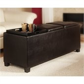 Convenience Concepts Tribeca Tray Top Bench Ottoman in Espresso