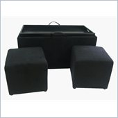 Convenience Concepts Designs4Comfort Micro Fiber Ottoman in Black
