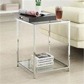 Convenience Concepts Palm Beach Glass End Table in Black
