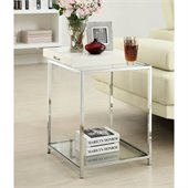 Convenience Concepts Palm Beach Glass End Table in White