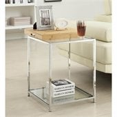 Convenience Concepts Palm Beach Glass End Table in Bamboo