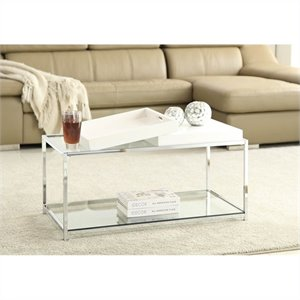 Convenience Concepts Palm Beach Glass Coffee Table in White