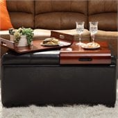 Convenience Concepts Designs4Comfort Espresso Storage & Tray Ottoman