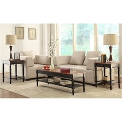 Convenience Concepts French Country 3 Piece Coffee Table Set in Cherry and Black