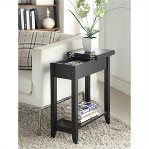 Convenience Concepts American Heritage Flip Top End Table - Black