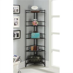 Convenience Concepts Designs2Go 5 Tier Folding Metal Corner Shelf - Black