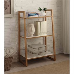 Convenience Concepts Oslo Sundance 3 Tier Shelf in White and Bamboo
