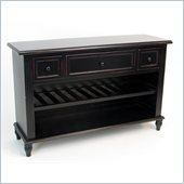 Wayborn Birchwood Sideboard with Wine Rack in Black