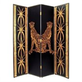 Wayborn Hand Painted 4 Panel Leopard Room Divider