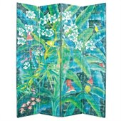Wayborn Hand Painted 4 Panel Parrot Room Divider
