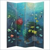 Wayborn Hand Painted 4 Panel Coral Fish Room Divider