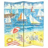 Wayborn Hand Painted 4 Panel Sailboat Room Divider