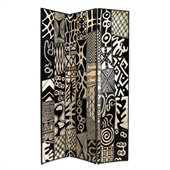 Wayborn African Motif Room Divider in Black/Silver