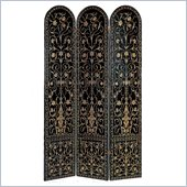 Wayborn 3 Panel Bohemian Room Divider in Black/Gold