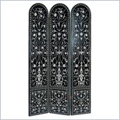 Wayborn 3 Panel Bohemian Room Divider in Black/Silver