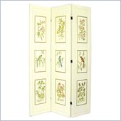 Wayborn 3 Panel Crackle Birds and Bamboo Room Divider