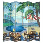 Wayborn Hand Painted 6 Panel Palm Beach Room Divider