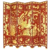 Wayborn Phoenix Room Divider in Red/Gold