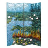 Wayborn Hand Painted Lotus Pond Room Divider