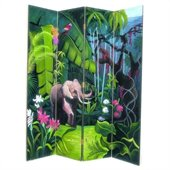 Wayborn Hand Painted Elephant In Jungle Room Divider