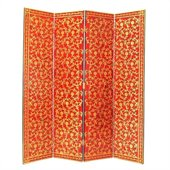 Wayborn Golden Vine Room Divider in Red/Gold