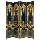 Wayborn Hand Painted French Scroll Room Divider in Black/Gold