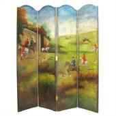 Wayborn Hand Painted Hunting Game Scene Room Divider