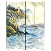 Wayborn Hand Painted 4 Panel Lighthouse Room Divider