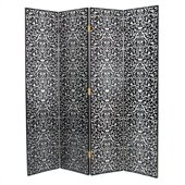 Wayborn Hand Painted Yuenchai Room Divider in Black/Silver