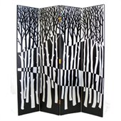Wayborn Hand Painted Black Forest Room Divider in Black/Silver