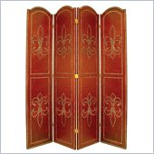 Wayborn Basswood Nailhead On Leather Room Divider in Red/Brown
