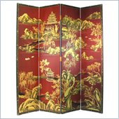 Wayborn Hand Painted Red Chinese Room Divider