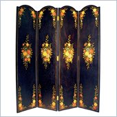 Wayborn Hand Painted Black Floral Room Divider