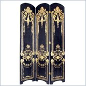 Wayborn Hand Painted Scroll Room Divider In Gold in Black/Gold