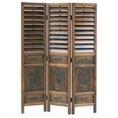 Wayborn Chinese Oakwood Louver Room Divider in Walnut