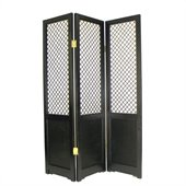 Wayborn Raffia Grass on Basswood Borneo Room Divider in Black