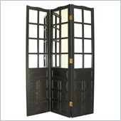 Wayborn French Mirror Room Divider in Antique Black