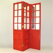 Wayborn French Mirror Room Divider in China Red