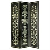 Wayborn French Floral Room Divider in Black/Silver