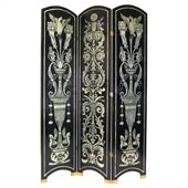 Wayborn Classic Floral Room Divider in Black/Silver