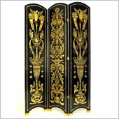 Wayborn Classic Floral Room Divider in Black/Gold