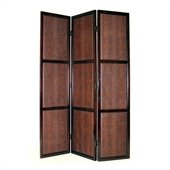 Wayborn 3 Panel Leather Room Divider in Dark Brown