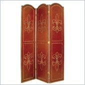 Wayborn Nailhead On Leather Room Divider in Red/Brown