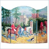 Wayborn Hand Painted Hunting Scene Fireplace Screen