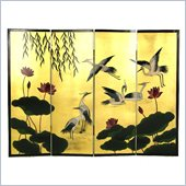 Wayborn Crane and Lotus Wall Room Divider