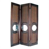 Wayborn Faux Leather w/Mirror Poker Room Divider in Brown