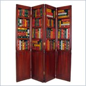 Wayborn 4 Panel Book Room Divider in Wood Tone