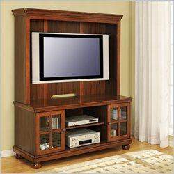 Altra Furniture Oakland Mounted TV Stand with Hutch in Madison Cherry